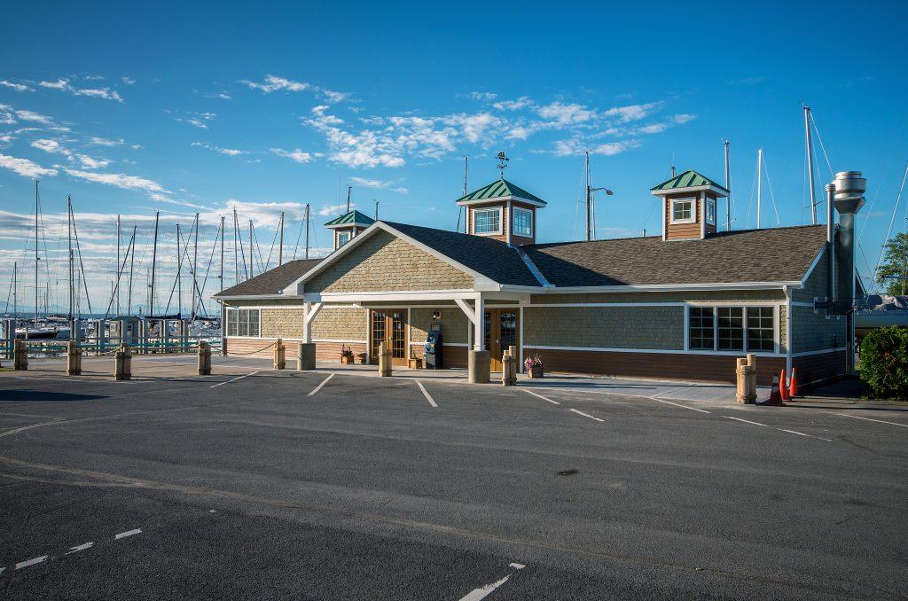 Image of building at lakeside marina.