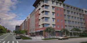 Image of NE corner of Eagles Landing apartment building.